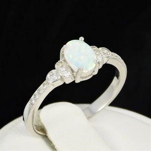 Jewelry - Retro White Opal & CZ Sterling Silver Ring N.W.T.